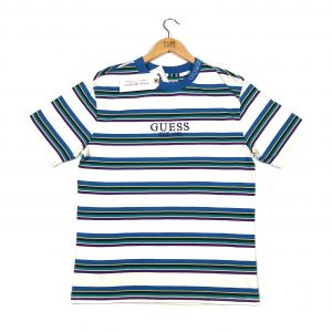 vintage_guess jeans_embroidered_blue_and_white_striped_tshirt_a0133