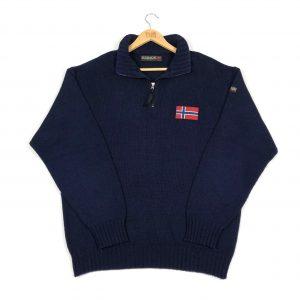 vintage_napapijri_quarter_zip_knitwear_sweatshirt_jumper_navy_s0157