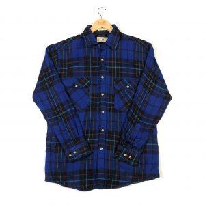 vintage_thick_blue_flannel_check_shirt_sh0004