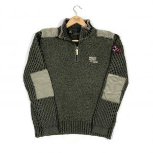 vintage_napapijri_green_quarter_zip_knit_jumper_s0211