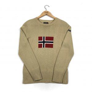 vintage_napapijri_beige_spell_out_flag_knit_jumper_s0289