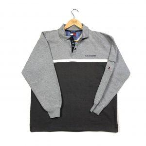 vintgae_tommy_hilfiger_long_sleeve_polo_shirt_grey_medium_s0476