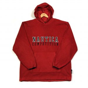 vintage_nautica_red_embroidered_spell_out_fleece_hoodie_fl0079