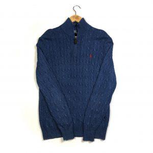 vintage_ralph_lauren_blue_quarter_zip_cable_knit_jumper