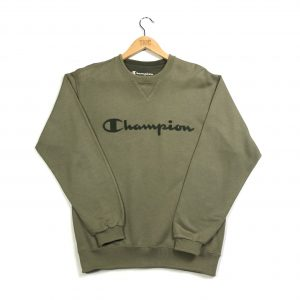 vintage_champion_embroidered_spell_out_khaki_sweatshirt