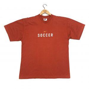 vintage nike printed back orange t-shirt with centre swoosh logo