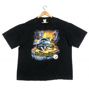 vintage usa, nfl, pittsburgh steelers graphic printed black t-shirt