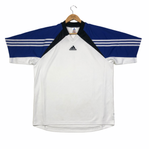 vintage adidas centre logo white training t-shirt with 3-stripes sleeves