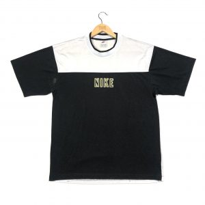 vintage nike embroidered centre logo t-shirt in black and white