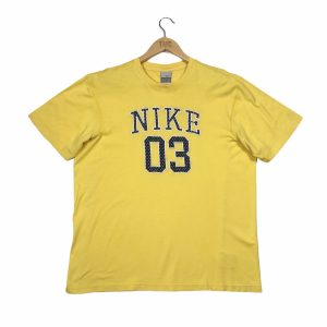 nike spell out yellow short sleeve t-shirt