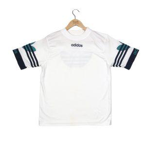 vintage adidas centre logo, printed back white t-shirt