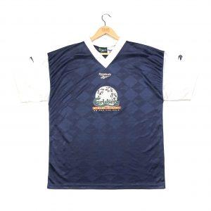 vintage reebok calsberg navy football shirt