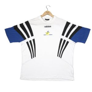 vintage adidas centre logo white t-shirt with 3-stripes