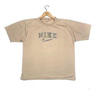 vintage bootleg nike beige embroidered logo t-shirt