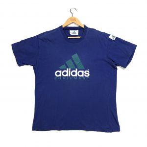 vintage adidas equipment printed logo blue t-shirt