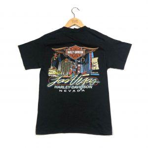 harley-davidson vintage printed back black t-shirt