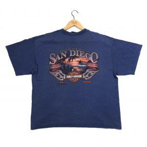 vintage harley-davidson essential blue t-shirt with printed back