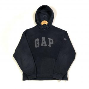 vintage gap navy fleece hoodie with embroidered logo