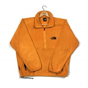 vintage north face orange quarter-zip fleece