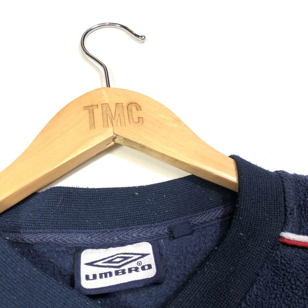 vintage umbro navy fleece sweatshirt with essential logos