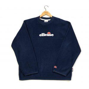 vintage ellesse embroidered centre logo navy fleece sweatshirt