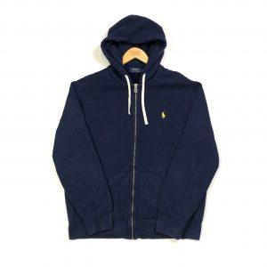 vintage ralph lauren navy zip up hoodie with embroidered essential pony logo