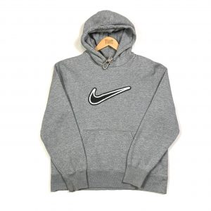 Nike vintage grey hoodie with fluffy centre swoosh logo