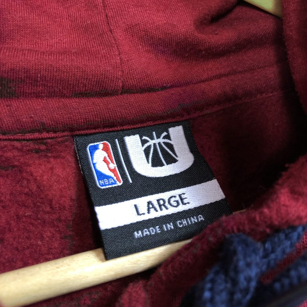 vintage nba cleveland cavaliers embroidered hoodie in the colour burgundy