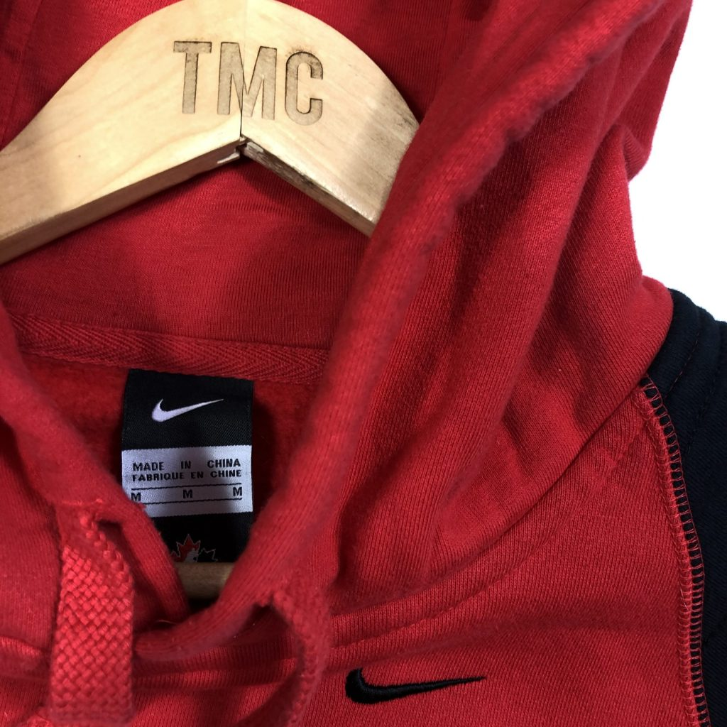 vintage nike canada ice hockey embroidered hoodie in red