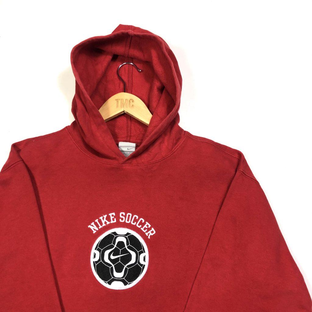 vintage nike soccer centre logo red hoodie