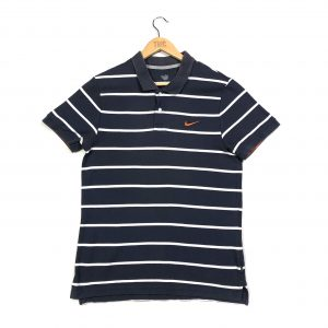 vintage nike striped essential navy polo shirt