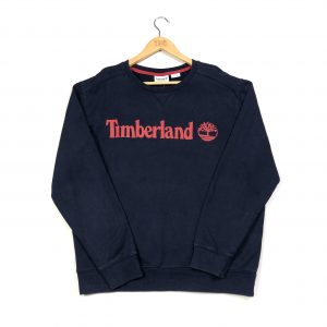 vintage timberland printed spell out logo navy sweatshirt