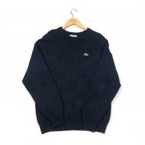 vintage lacoste essential logo navy knit jumper