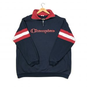 vintage champion quarter zip navy sweatshirt with embroidered spell out logo
