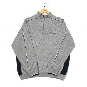 vintage champion essential logo quarter zip grey sweatshirt