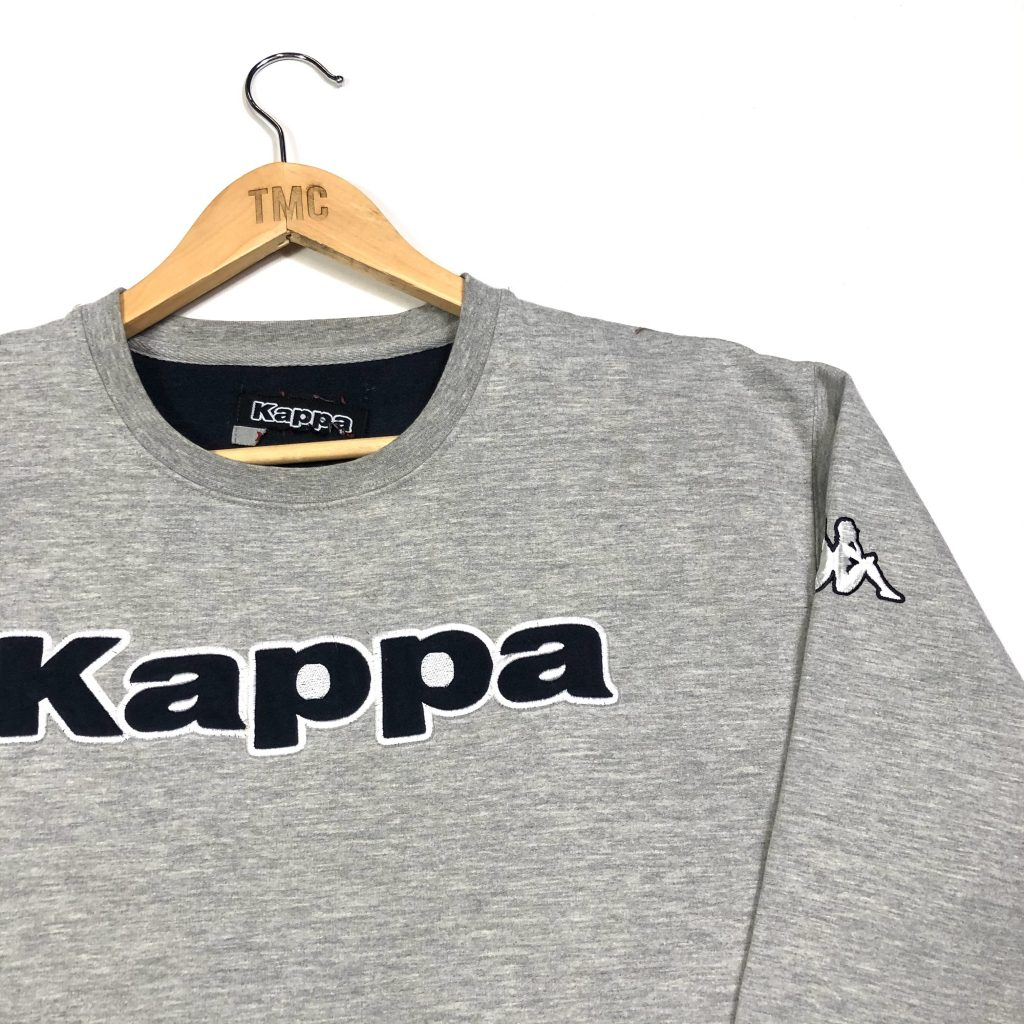 vintage kappa embroidered spell out logo grey sweatshirt