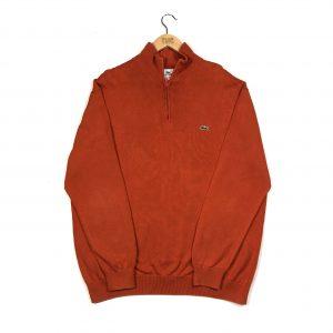 vintage lacoste orange quarter-zip knit jumper with embroidered crocodile logo