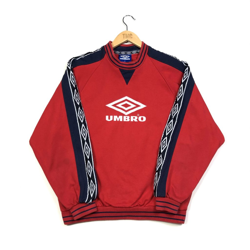 vintage umbro red sweatshirt with repeat logo tape sleeves and embroidered logo
