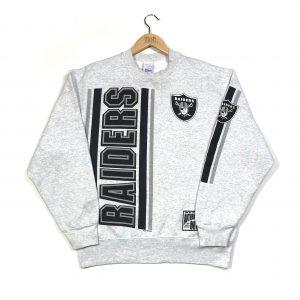 vintage 1995 nfl oakland raiders printed back grey sweatshirt
