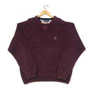 vintage Tommy Hilfiger burgundy knit jumper with embroidered crest logo