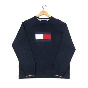 vintage tommy hilfiger knit jumper with flag logo
