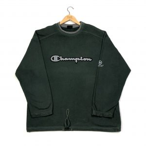 vintage champion embroidered logo green sweatshirt