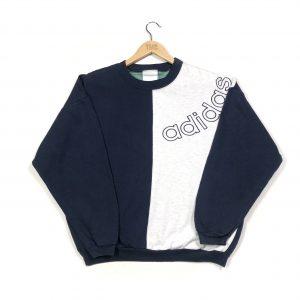vintage 90s adidas originals navy sweatshirt with embroidered logo