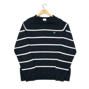vintage lacoste navy striped knit jumper