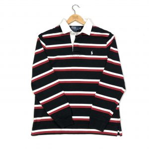 vintage ralvintage ralph lauren black striped rugby shirtph lauren black striped rugby shirt