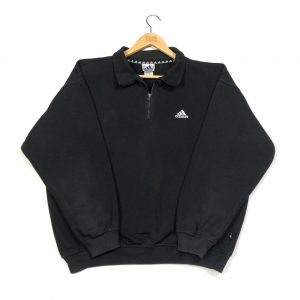 vintage adidas essential logo black quarter-zip sweatshirt