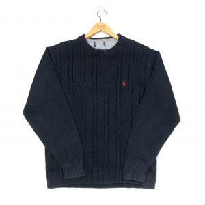 vintage ralph lauren navy cable knit jumper