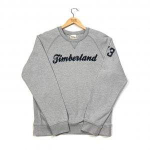 vintage timberland grey sweatshirt with embroidered spell out logo