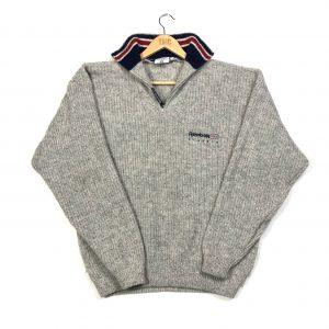 vintage reebok beige quarter-zip knit jumper with union jack flag