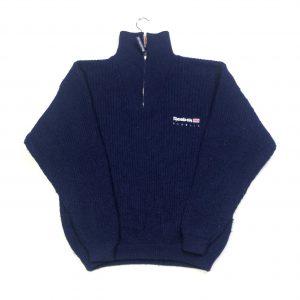 vintage reebok navy quarter-zip knit jumper with union jack flag
